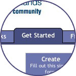 How to help the community: Click the Get Started tab at the top of the page to create or join a community.
