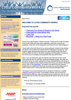 Caregiving resources: The Lotsa Helping Hands newsletter for caregivers.